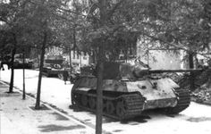 King Tiger, Flakpanzer IV (either Wirbelwind or Ostwind) and a Panther abandoned in Berlin, 1945