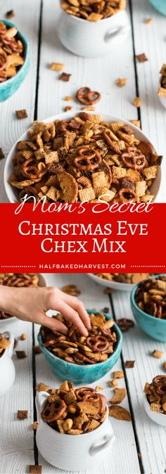 Mom's Secret Christmas Eve Chex Mix | halfbakedharvest.com @hbharvest I used honey roasted cashews in my nut mix, giant corn nuts, and bugles instead of the corn chex (they didnt have them at my grocery store). So good!!! Love this recipe.