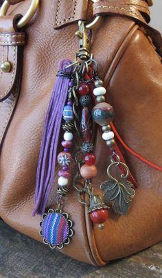 #ThePaintedCabeza ~ Boho Purse Charm, Charm Tassel, Zipper Pull, Key Chain - Indian Fabric, Lavender, Red, Antiqued Brass, Wood, Ceramic, Stone, Multi-Colored