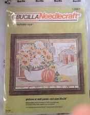 New Bucilla Autumn View Cross Stitch Kit Pumpkin Fall Barn Daisy Sunflower