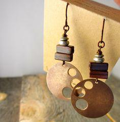 swooping moon metal and vintage walnut earrings by bootsravendesigns, $35.00