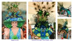 "August 10, 2013 - Twyla's Big Hat birthday party luncheon for 50 women in her home in Laguna Beach, Ca. Judy wins again for ""Show Stopper"" Hat. Check out the peacock feathers."