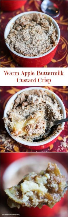 Warm Apple Buttermilk Custard Crisp - warm your belly with one of these luscious treats - no crust required!