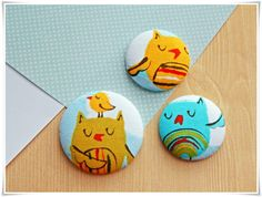 Set of 3 Large Sleepy Owl and Bird Fabric-covered Button Kitchen Magnets by ZzzonkOwl