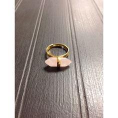 """Pink Gold Wrapped Stone Bar Ring Gold adjustable ring with wrapped pink crystal stone bar. Approximately 3/4"""" x 1/4"""", adjustable ring size. Materials: Gold Metal, Stone. NWOT. Jewelry Rings"""