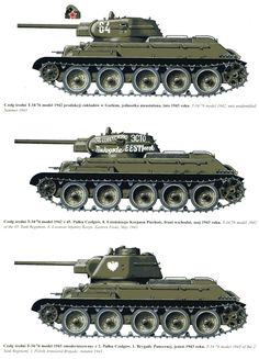 Soviet T-34's, with 76mm gun. The great tank was made better in '44 with an new 85mm gun and new turret.