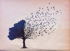 Holy crap I adore this. Tree represents family and flying away represents how we grow apart and the branches remaining represents how we are always attached to our roots