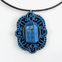 Metallic Blue Doctor Who Tardis Cameo Pendant and by TheClayPony, $27.00