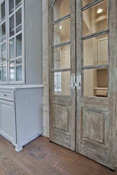 Wentwood Winter 2012 - traditional - Kitchen - Dallas - Coats Homes gorgeous reclaimed French doors Antique Doors, Old Doors, Entry Doors, Vintage Doors, Exterior Front Doors, Patio Doors, Interior Design Elements, Rustic Doors, Rustic Pantry Door