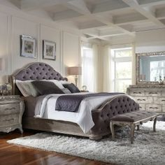 Elegant and sumptuous, Rhianna Bedroom Collection by Pulaski Furniture envelopes you in total luxury. The aged silver patina finish enhances sinuously curved shapes and French influenced decorative motifs. Come home and enjoy your private sanctuary. Gray Fabric Headboard, Bedroom Design, Contemporary Bedroom Design, Bed, Furniture, Bedroom Sets, Home Decor, Upholstered Beds, Pulaski Furniture