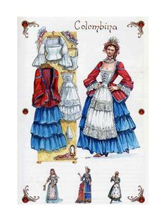 Colombina is one of the smartest characters who sometimes wears bright colors in patterned dresses. Rococo Dress, Costume Design Sketch, Pierrot, Paper Dolls Printable, 17th Century Art, Theatre Costumes, Shows, Vintage Images, Masquerade