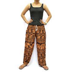 Brown Elephants Print Unisex Thai Harem by AsianChicShop on Etsy, $15.99   harem pants, men harem pants, harem pants pattern, hippie boho pants, trouser harem pant, hippie pant harem, women harem pants, harem pant, harem pant women, yoga pants, elephant pants, aladdin pants