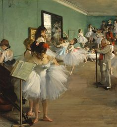 The Dance Class, by Edgar Degas Oil on canvas 32 3/4 x 30 1/4 in. (83.2 x 76.8 cm) Implied and actual line. The artist uses the line of the ceiling and the line of all the girls to keep the eye moving towards the back of the room.