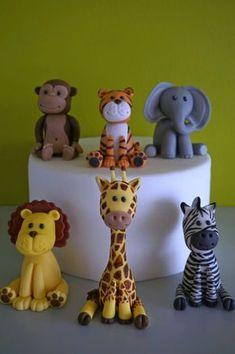 Safari cake toppers fondant safari animal cake giraffe topper elephant topper zebra topper lion topper tiger topper monkey topper My online store fondant cake toppers Fondant Toppers, Fondant Cakes, Cupcake Toppers, Fondant Figures, Fimo Kawaii, Jungle Cake, Zoo Cake, Safari Cakes, Safari Animals