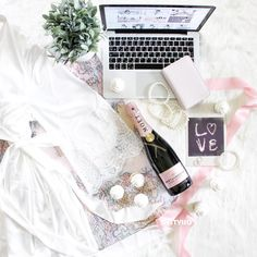 Champagne breakfast with Homebodii Lola white satin matte Kimono Robe. Getting ready in the mornings have never felt better. Photo by Destylio.