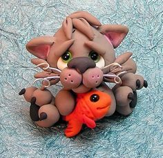 *POLYMER CLAY ~ kittens   Grady - OOAK Hand Sculpted Polymer Clay Kitten/Cat with Fish