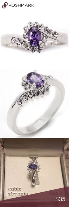 Sparkle Allure Purple Crystal Cocktail Ring Silver plated Cocktail ring. Purple crystal stone. Aligned with cubic zirconia. Brand new. Size 8.  Not stamped .925. Jewelry Rings