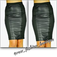 The black skirt with leather patch is available at www.rawfashionboutique.co