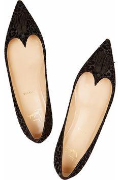 Christian Louboutin | Gwalior flocked glittered leather point-toe flats | NET-A-PORTER.COM