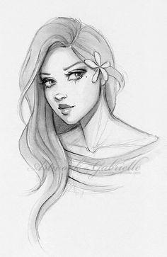 Delicate Girl and Flower, sketch, illustration, drawing / Ragazza delicata e fiore, bozzetto, disegno, illustrazione - Artwork by Gabrielle (by gabbyd70 on deviantART)