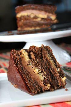 Layered Chocolate Peanut Butter Cake