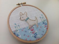 Chihuahua hoop art - hand sewn fabric chihuahua picture with vintage fabric