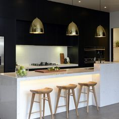 The Block Glasshouse: Kitchen week! Like the combination of white, black or dark, light wood and gold.