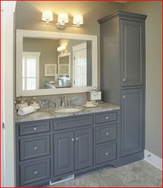 Traditional Bathroom Design, Pictures, Remodel, Decor and Ideas - page Relocate linen cabinet. Add slim pullout cabinet (w/electrical sockets for blow dryer, etc. Adjust countertop for double sinks. Maybe 4 drawers instead of Dream vanity! Upstairs Bathrooms, Laundry In Bathroom, Bathroom Closet, Small Bathrooms, Small Baths, Small Master Bathroom Ideas, Luxury Bathrooms, Downstairs Bathroom, Laundry Rooms