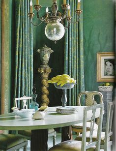 Turquoise blue dining room by Barry Dixon