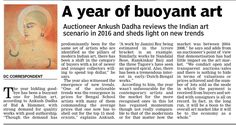 A YEAR OF BUOYANT ART: Ankush Dadha reviews the Indian art scenario in 2016 and sheds light on new trends /Deccan Chronicle/21-12-16