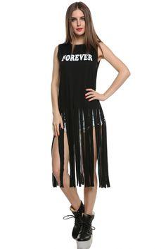 Stylish Women Sleeveless Round Neck Printed FOREVER Long Tassel Dress