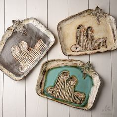 """Etta B Pottery- """"The First Noel"""" Large Nativity Platter. All Etta B Pottery is completely functional and food safe. Microwave, oven and dishwasher safe with care. Handcrafted and proudly made in Etta, Mississippi"""