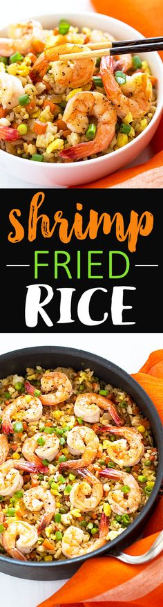 Shrimp Fried Rice - Skip the takeout and make this classic homemade version with fresh shrimp, carrots, peas and green onions!