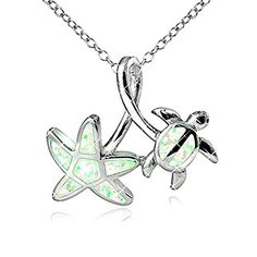 """Opal View Sterling Silver Created White Opal Starfish and Turtle Twist Pendant Necklace, 18"""" * Visit the image link more details."""
