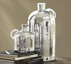 Mercury PB Jugs, you know I'm partial to mercury looking shine to pop against the rustic and dark colors :)