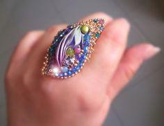 Ring - Bead embroidery, shibori silk ribbon Design by Serena Di Mercione