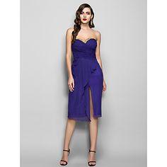 Homecoming Cocktail Party/Holiday Dress - Regency Plus Sizes Sheath/Column Sweetheart Knee-length Chiffon – USD $ 109.99