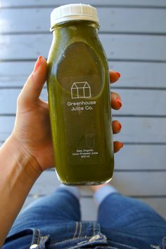 Loving my green cold pressed juice from {{Greenhouse Juice Co.}}