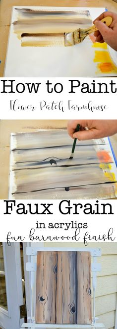 How to Paint faux wood grain in acrylics is easy and super fun.  Great for barn wood back grounds on all sorts of paintings or craft projects. Check out some of my other tutorials to see how I use it.  via @FlowerpatchPam