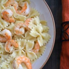 Shrimp Bow Tie Pasta in a Lemon Butter Sauce. So easy to make.