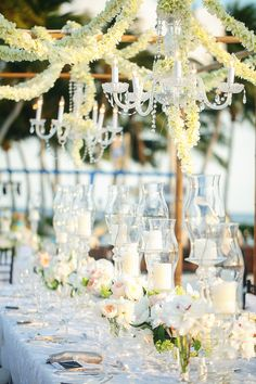#tablescapes  Photography: Binary Flips - binaryflips.com  Read More: http://www.stylemepretty.com/little-black-book-blog/2014/07/21/beach-wedding-at-the-ocean-reef-club/