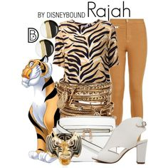 Rajah by leslieakay on Polyvore featuring Sam&Lavi, Parisian, ALDO, disney, disneybound and disneycharacter