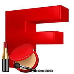 Alphabets by Monica Michielin: RED MAKE-UP FACIAL POWDER LIPSTIC ALPHABET, ALFABETO VERMELHO COM BATOM (MAQUIAGEM) E PÓ FACIAL