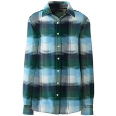 Lands' End Women's Petite Flannel Shirt ($49) ❤ liked on Polyvore featuring tops, blue, lands' end, plaid shirts, petite tops, blue top and tartan plaid shirt
