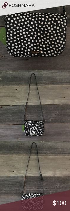 """NWT Kate spade large Carsen musical dot crossbody NWT Kate spade large Carsen musical dot crossbody bag. Dimensions: 7""""x9""""  Inside has zipper pocket. Super cute bag! Just don't need it in my collection, make an offer or bundle with matching wallet for a discount! kate spade Bags Crossbody Bags"""