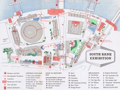 Maps from the festival of Britain, 1951:  South Bank map