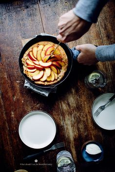 Baked pancake with nectarines