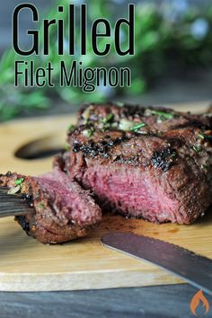 Grill up a decadent Kansas City Steak Garlic Rosemary Filet Mignon, and your guests will feel like they're eating at a fine steakhouse. Healthy Grilling Recipes, Beef Recipes, Chicken Recipes, Cooking Recipes, Grilled Shrimp Recipes, Grilled Beef, Great Recipes, Favorite Recipes, Filet Mignon