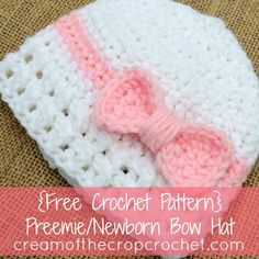 Doesn't this cute preemie/newborn bow hat look like a present? It has a cute bow that wraps around like on a present with lacy ribbing! Imagine a precious baby girl in this. Maybe even consider donating one!