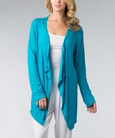 Look at this Vasna Turquoise Asymmetrical Open Cardigan - Women on #zulily today!